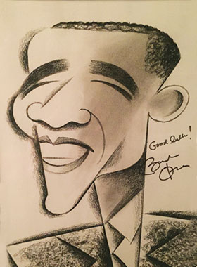 caricature drawing of Barak Obama