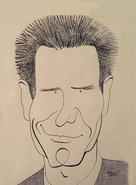 caricature drawing of Harrison Ford