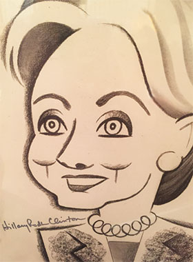caricature drawing of Hillary Clinton