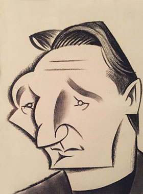 caricature drawing of Liam Neeson